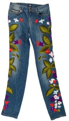 Dolce & Gabbana Embroidered Low-Rise Jeans w/ Tags