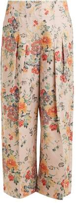 Rebecca Taylor Floral Print Wide Leg Cotton Blend Trousers - Womens - Pink Print
