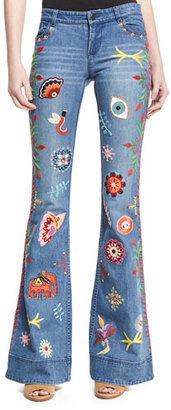 Alice + Olivia Ryley Embroidered Low-Rise Bell-Bottom Jeans, Multicolor $795 thestylecure.com