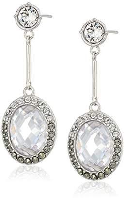 Judith Jack Sterling Oval Post with Swarovski Marcasite Drop Earrings