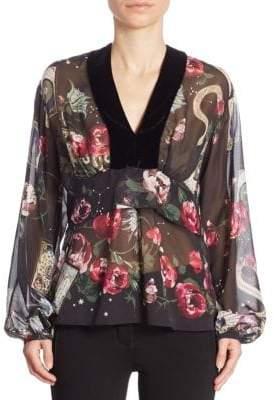 Roberto Cavalli Silk Floral Blouse