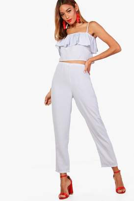boohoo Stripe Crop and Wide trouser Co-ord