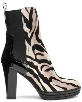 Hogan Leather-Paneled Zebra-Print Calf Hair Ankle Boots