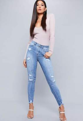 Missguided Blue High Waisted Stepped Shadow Pocket Skinny Jeans