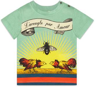 "Baby cotton t-shirt with ""L'Aveugle Par Amour"" bee print $195 thestylecure.com"