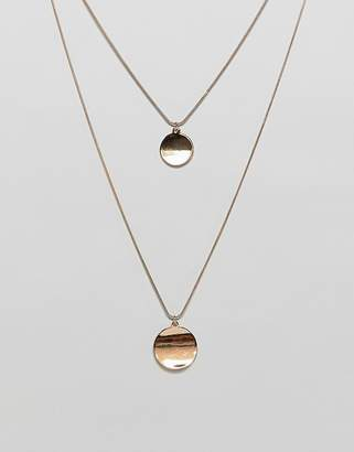 Warehouse double row disc necklace in gold