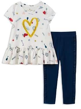 Kate Spade Girls' Doodle-Print Top & Ruffled Leggings Set - Little Kid