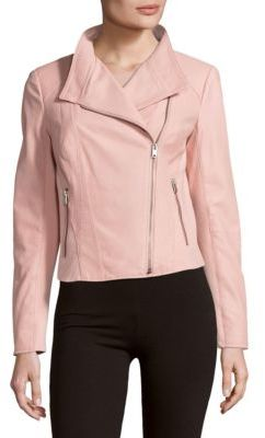 Felicia Zippered Leather Moto Jacket $375 thestylecure.com