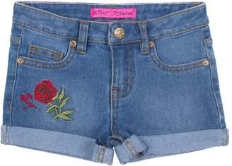 Betsey Johnson Embroidered Rose Denim Shorts