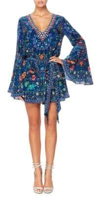 Camilla The Long Way Home Printed Silk Flare-Sleeve Playsuit
