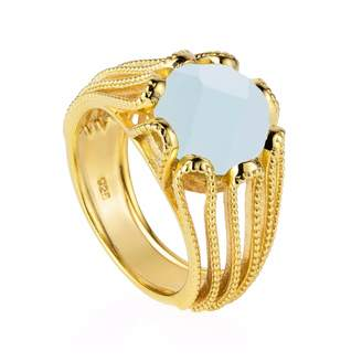 Neola - Alessia Gold Cocktail Ring with Aqua Chalcedony