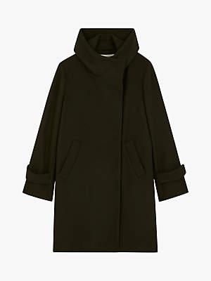 Gerard Darel Marcia Wool Blend Funnel Neck Coat, Dark Green