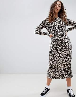 Daisy Street midaxi smock dress in leopard print