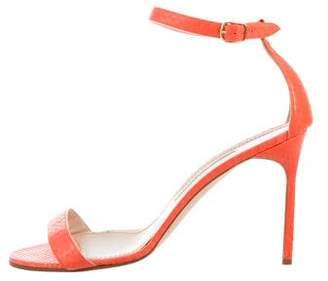Manolo Blahnik Coated Snakeskin Sandals