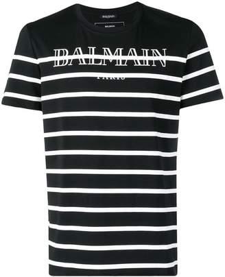 Balmain striped logo print T-shirt