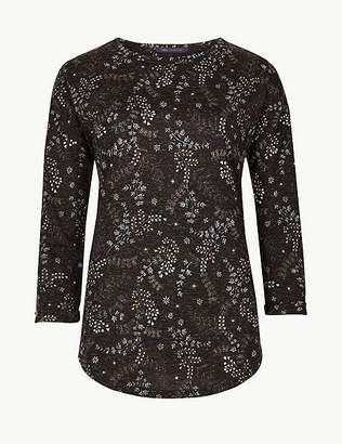 Marks and Spencer Printed Round Neck 3/4 Sleeve T-Shirt