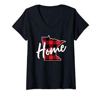 Buffalo David Bitton Womens Plaid Minnesota Home State Shirt MN State Gift V-Neck T-Shirt
