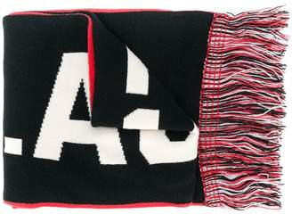 Puma fringed knit scarf