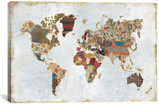 icanvasart Pattern World Map By Laura Marshall