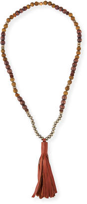 Neiman Marcus Akola Beaded Pyrite & Wood Tassel Necklace