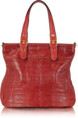 Robe Di Firenze Red Croco Stamped Italian Leather Tote
