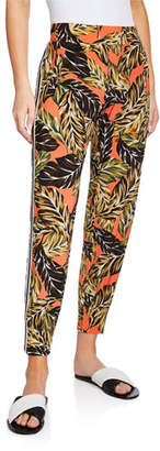 Norma Kamali Printed Side-Stripe Jogger Pants