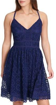 GUESS Lace Halter Fit-and-Flare Dress