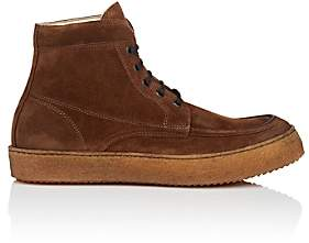 Barneys New York MEN'S CREPE-SOLE SUEDE BOOTS-BROWN SIZE 9 M