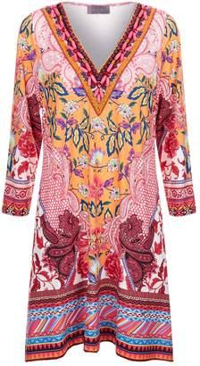 Hale Bob Beaded V-Neck Jersey Dress
