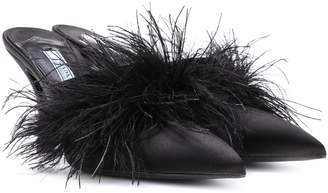 Prada Exclusive to mytheresa.com feather-trimmed satin mules