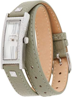 Judith Ripka Stainless Steel Silvertone Leather Wrap Westport Watch