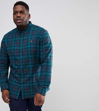 Farah PLUS Waithe Slim Fit Check Shirt in Navy