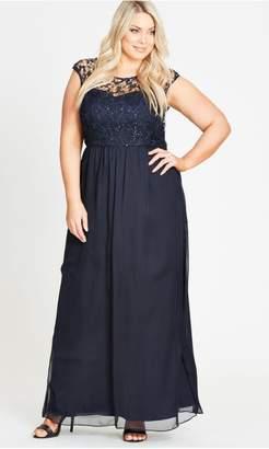 City Chic Citychic Sparkle Love Navy Maxi Dress