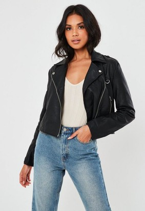 Missguided Petite Black Ultimate Boxy Faux Leather Biker Jacket