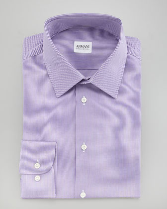 Armani Collezioni Modern Fit Check Dress Shirt, Purple