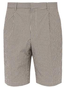 Joseph Plage Micro Check Cotton Blend Shorts - Mens - Brown Multi