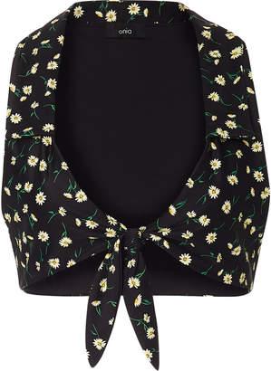 Onia +WeWoreWhat Salerno Tie-Front Floral-Print Bikini Top
