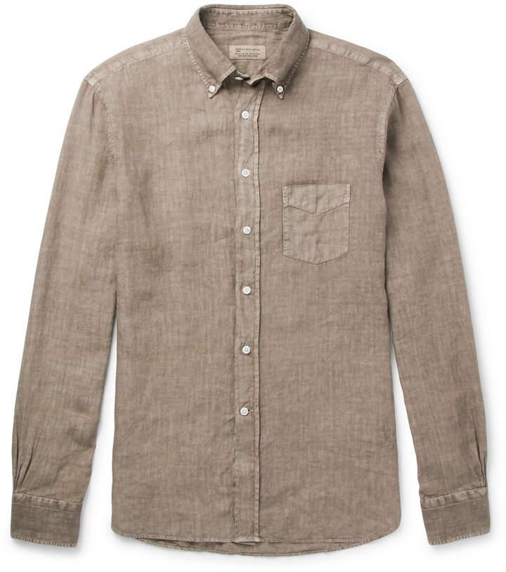 MAN Button-Down Collar Slub Linen Shirt