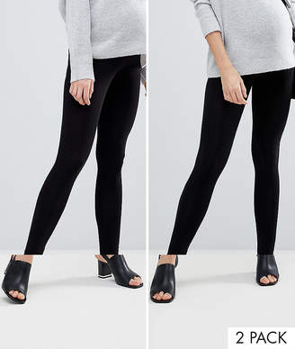 Asos (エイソス) - Asos Maternity ASOS DESIGN Maternity 2 pack over the bump high waisted leggings in black