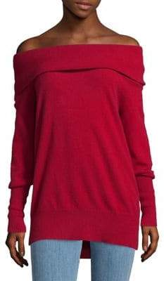 Lord & Taylor Petite Off-The-Shoulder Cashmere Sweater