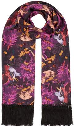Klements Delores Hand Tasseled Silk Twill Scarf In Biaowieza Forest Print Deep Mauve