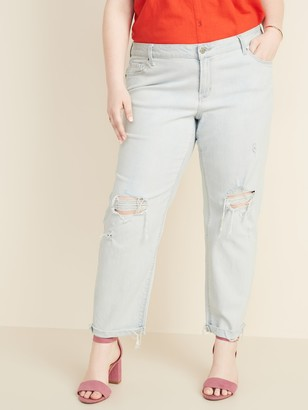 Old Navy Mid-Rise Boyfriend Straight Plus-Size Distressed Jeans