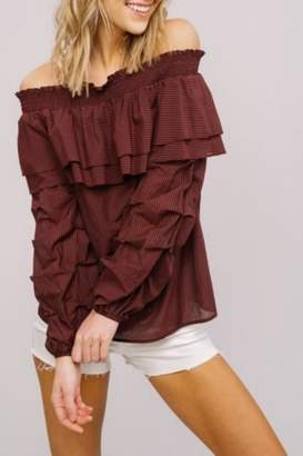 Listicle Off-Shoulder Ruffle Top