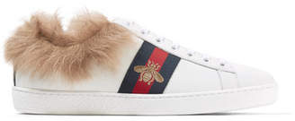 Gucci Ace Shearling-lined Embroidered Leather Sneakers - White