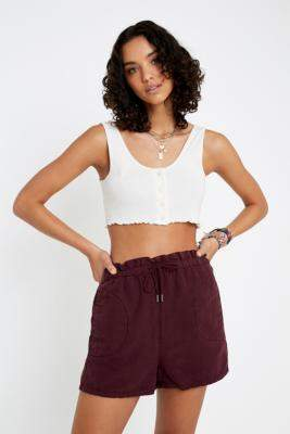 BDG Wine Paperbag High Waisted Shorts - red XS at Urban Outfitters