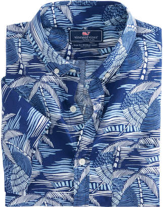 Vineyard Vines Short-Sleeve Linear Umbrellas Slim Murray Shirt