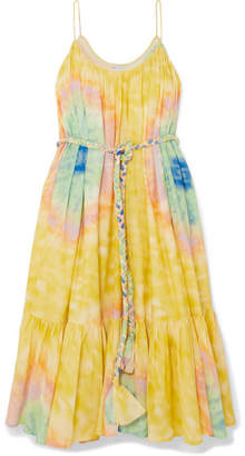 Rhode Resort Lea Belted Tie-dyed Cotton-voile Midi Dress - Yellow
