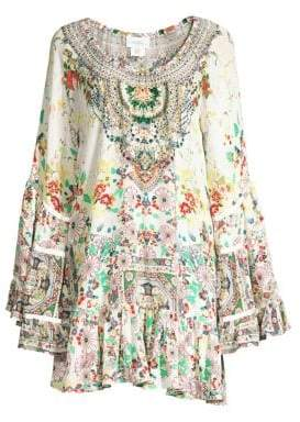 Camilla Floral Silk A-Line Dress