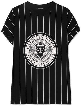 Balmain Printed Cotton-jersey T-shirt - Black