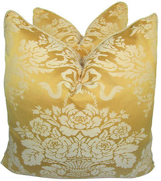 One Kings Lane Vintage Floral Damask Pillows - Set of 2 - AntiqueLifestyle